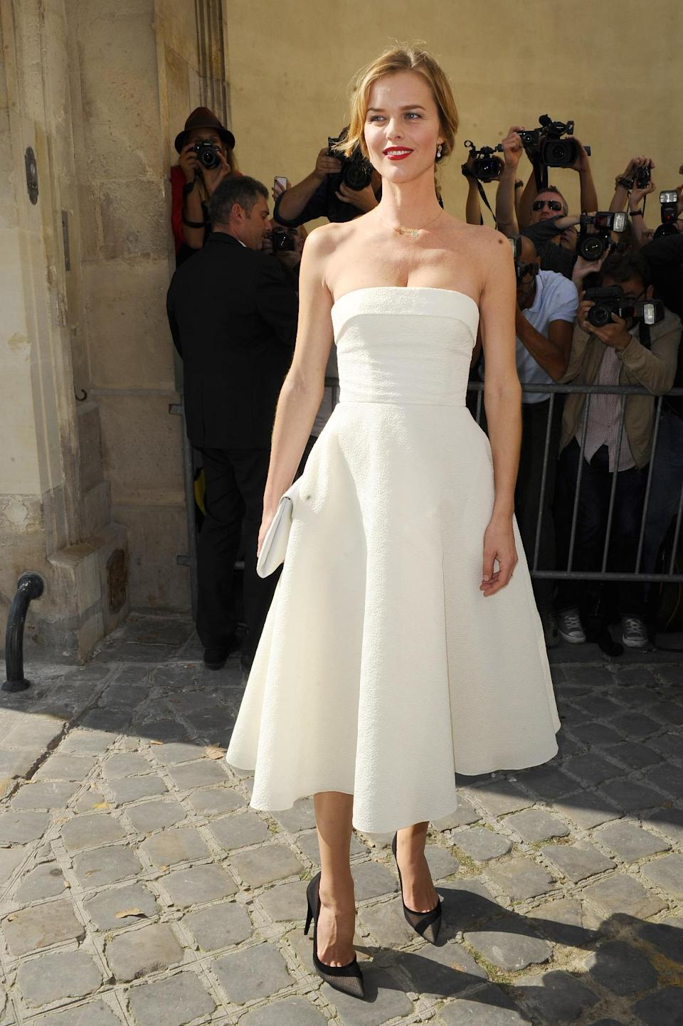 Eva Herzigova arrives to attend Christian Dior's ready-to-wear Spring/Summer 2014 fashion collection, presented Friday, Sept. 27, 2013 in Paris. (AP Photo/Zacharie Scheurer)