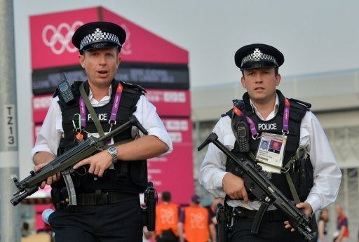 <p>British police on patrol near the main Olympic stadium in east London. British Prime Minister David Cameron declared security his main concern on the eve of the London Olympics Thursday while US presidential hopeful Mitt Romney backtracked on unflattering comments he made.</p>