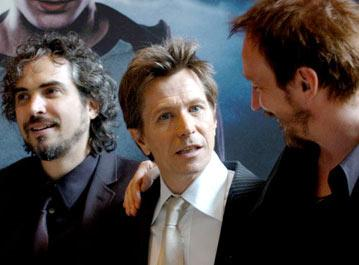 Director Alfonso Cuaron , Gary Oldman and David Thewlis at the London premiere of Warner Brothers' Harry Potter and the Prisoner of Azkaban