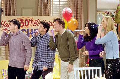 Matt LeBlanc, David Schwimmer, Matthew Perry, Courteney Cox and Lisa Kudrow in &quot;The One With Where They All Turn 30&quot; in NBC's Friends 
