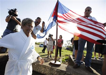 U.S. long-distance swimmer Diana Nyad arrives for her attempt at swimming to Florida from Havana