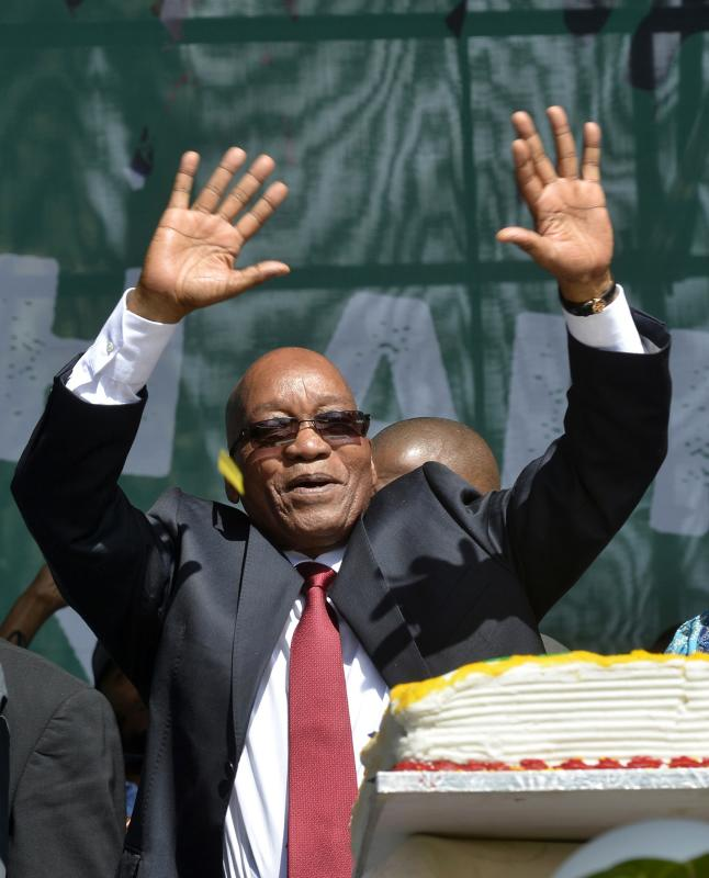 South Africa's President Zuma addresses crowds during Freedom Day celebrations in Pretoria