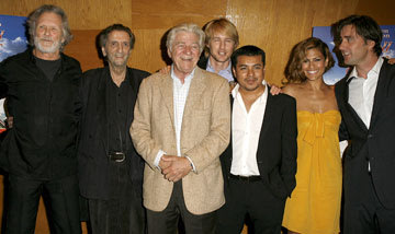 Kris Kristofferson , Harry Dean Stanton , Seymour Cassel , Owen Wilson , Jacob Vargas , Eva Mendes and Luke Wilson , director, at the Los Angeles premiere of THINKFilm's The Wendell Baker Story