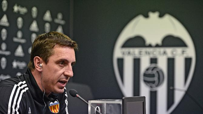 Valencia's coach Gary Neville speaks during a press conference in Valencia on February 2, 2016