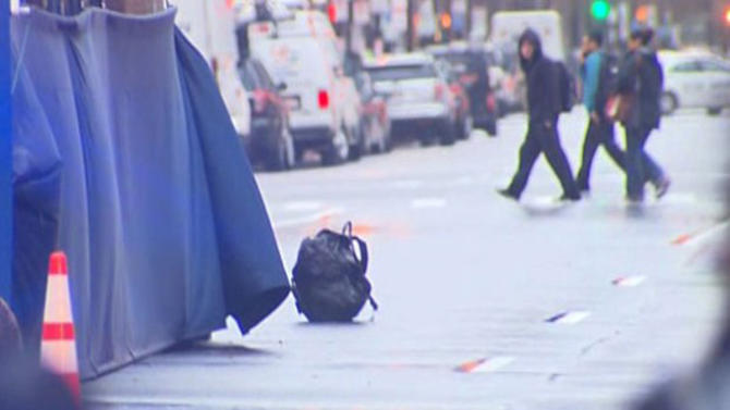 A backpack that was left unattended on Boylston Street at the finish line of the Boston Marathon is pictured