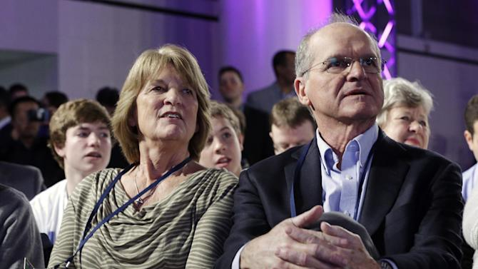 Jack and Jackie Harbaugh, parents of San Francisco 49ers head coach Jim Harbaugh and Baltimore Ravens head coach John Harbaugh watch a news conference for the NFL Super Bowl XLVII football game Friday, Feb. 1, 2013, in New Orleans. (AP Photo/Patrick Semansky)