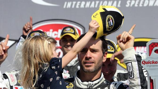 Jimmie Johnson's daughter Genevieve takes his cap off in Victory Lane after the NASCAR Quicken Loans 400 auto race at Michigan International Speedway in Brooklyn, Mich., Sunday, June 15, 2014