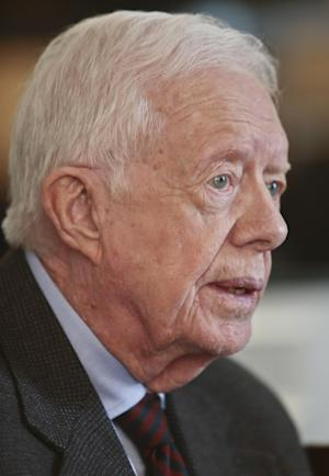 "Former U.S. President Jimmy Carter speaks during an interview on Monday March 24, 2014 in New York. Carter said Monday that he doesn't support the Palestinian-led ""boycott, divest, sanction"" campaign against Israel but said products made in Israel-occupied Palestinian territories should be clearly labeled so buyers can make a choice about them. (AP Photo/Bebeto Matthews)"