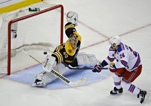 Boston Bruins goalie  Rask blocks a shot from New York Rangers Callahan during their NHL Eastern Conference semi-final in Boston