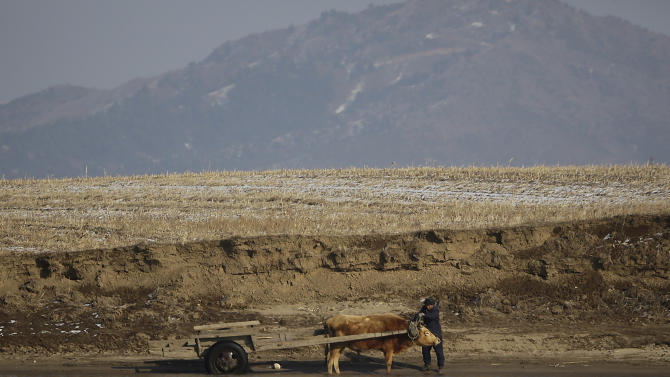 In this Feb. 6, 2013 photo, a North Korean farmer brings his cattle to the river bank of the North Korean town of Sinuiju, opposite the Chinese border city of Dandong. China's patience with North Korea is wearing thin, and a widely-expected nuclear weapons test by the latter could bring that frustration to a head. Beijing signaled its growing unhappiness by agreeing to tightened U.N. sanctions after North Korea launched a rocket in December, eliciting harsh criticism from Pyongyang and comment from China watchers surprised by Beijing's unusually tough line. (AP Photo/Eugene Hoshiko)