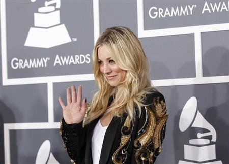 Actress Kaley Cuoco arrives at the 55th annual Grammy Awards in Los Angeles, California February 10, 2013. REUTERS/Mario Anzuoni