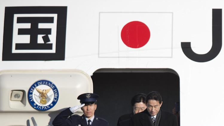 Japanese Prime Minister Shinzo Abe arrives at Andrews Air Force Base, Md., Thursday, Feb. 21, 2013.  The Japanese prime minister will meet with President Barack Obama on Friday. (AP Photo/Manuel Balce Ceneta)