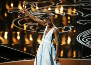 "Nyong'o, best supporting actress winner for her role in ""12 Years a Slave"", speaks on stage at the 86th Academy Awards in Hollywood"