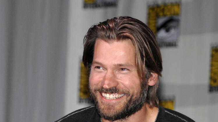 """Actor Nikolaj Coster-Waldau who portrays Jaime Lannister on the Emmy nominated HBO series """"The Game of Thrones"""" is shown during a panel at Comic-Con International 2011 in San Diego Thursday, July 21, 2011.   (AP Photo/Denis Poroy)"""