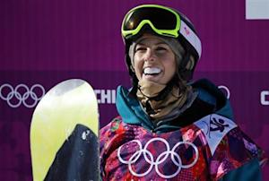 Australia's Torah Bright reacts at the finish line during the women's snowboard slopestyle qualifying session at the 2014 Sochi Olympic Games in Rosa Khutor