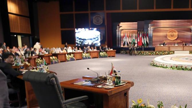 KEF01. Sharm El-sheikh (Egypt), 29/03/2015.- The seat of the Syrian delegation remains empty before the closing session of the Arab Leaders summit, in Sharm el-Sheikh, Egypt, 29 March 2015. The Arab League summit wrapped up a two-day meeting that focused on the mounting turmoil and radicalism in the region. (Egipto) EFE/EPA/KHALED ELFIQI