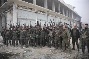 Syrian army soldiers loyal to Syria's President…