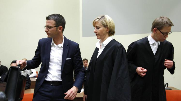 Defence lawyers Sturm Stahl and Heer of defendant Zschaepe arrive for the continuation of their client's trial in Munich