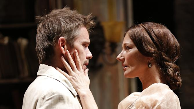 "This theater image released by The Publicity Office shows Ethan Hawke, left, and Joely Richardson in a scene from ""Ivanov,"" performing off-Broadway at Classic Stage Company in New York. (AP Photo/The Publicity Office; Joan Marcus)"