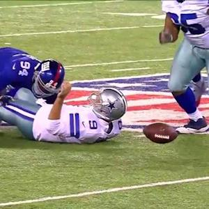 Dallas Cowboys quarterback Tony Romo fumble recovered by New York Giants defensive end Pierre-Paul