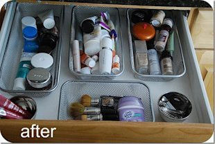 Dollar store containers velcroed to drawer