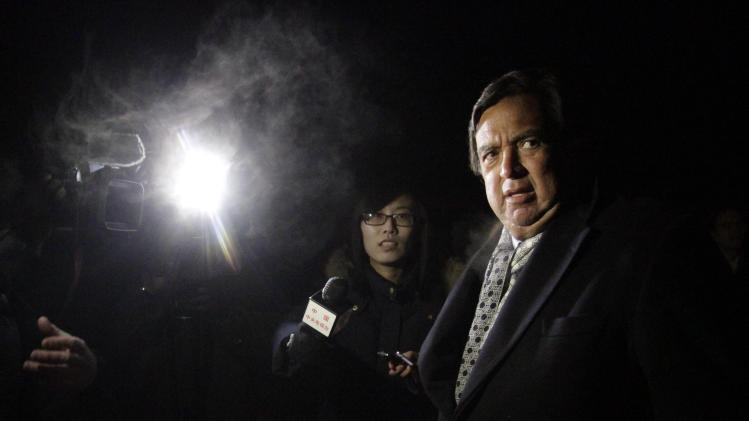 Former New Mexico Gov. Bill Richardson is interviewed by journalists after arriving at Pyongyang International Airport in Pyongyang, North Korea, Monday, Jan. 7, 2013. Richardson arrived in the North Korean capital with Google Executive Chairman Eric Schmidt, and called the trip a private humanitarian visit. (AP Photo/Kim Kwang Hyon)