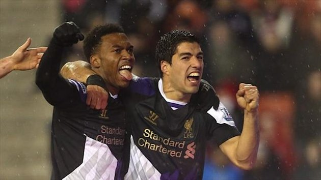 Daniel Sturridge, left, and Luis Suarez, right, have led Liverpool's unlikely title challenge