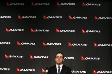 Qantas Airways Ltd Chief Executive Joyce reacts during a media conference in Sydney