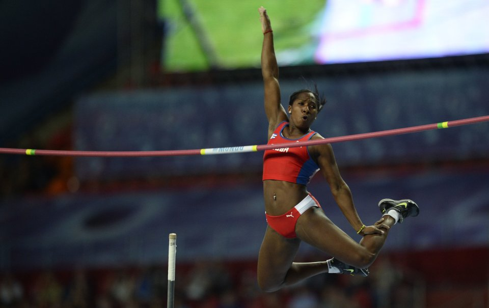 Silva of Cuba competes during women's pole vault final at World Athletics Championships in Moscow