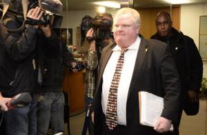 Toronto Mayor Ford leaves his office at City Hall in Toronto