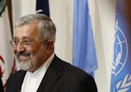 "Iran's envoy to the International Atomic Energy Agency (IAEA), Ali Asghar Soltanieh, delivers a speech following talks at the Iranian permanent mission to the United Nations and other international organisations in Vienna on August 24. Iran ""will never stop"" its controversial uranium enrichment, Soltanieh said Tuesday, on the sidelines of a Non-Aligned Movement ministerial meeting in Tehran. (AFP Photo/Alexander Klein)"