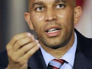 New York Assemblyman Hakeem Jeffries speaks during a news conference in Albany