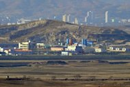 Inter-Korean industrial complex of Kaesong is seen from a South Korean observation tower in Paju near the Demilitarized Zone (DMZ) dividing the two Koreas, in 2011. S.Korea has agreed a pay rise for N.Korean workers at the Seoul-funded complex, an official said on Monday