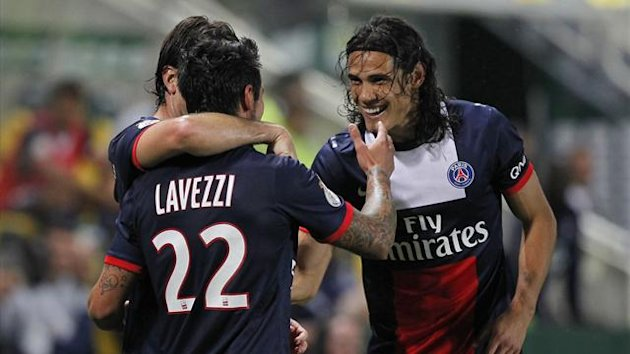 Paris Saint-Germain's Ezequiel Lavezzi celebrates with team mate Edinson Cavani (R) after scoring against FC Nantes (Reuters)