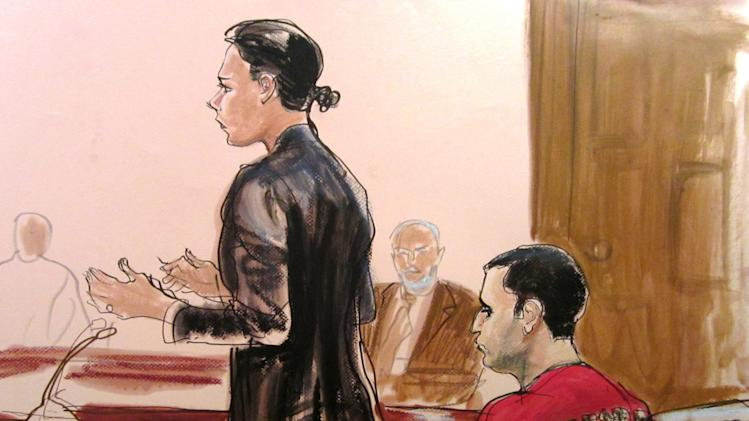 "FILE - In this Oct. 25, 2012, file courtroom drawing, Federal Defender Julie Gatto requests bail for her client, New York City Police Officer Gilberto Valle, right, at Manhattan Federal Court in New York. The New York City police officer accused of kidnapping conspiracy admits to thinking about abducting, cooking and devouring young women. His own lawyer has shown prospective jurors a kinky staged photo of a woman trussed up in a roasting pan to test their tolerance for the officer's ""weird proclivities.""  (AP Photo/Elizabeth Williams, File)"