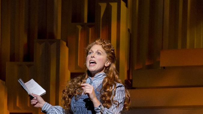 """This theater image released by The Publicity Office shows Carolee Carmello during a performance of the musical """"Scandalous: The Life and Trials of Aimee Semple McPherson,"""" at the Neil Simon Theatre in New York. (AP Photo/The Publicity Office, Jeremy Daniel)"""