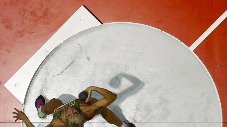 Maksimava of Belarus competes during the women's shot put pentathlon event at the world indoor athletics championships at the ERGO Arena in Sopot
