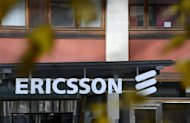 <p>Ericsson logo is seen at the firm's headquarters in Stockholm, on November 7, 2012. South Korea's Samsung Electronics said on Wednesday it had filed a complaint to seek a US import ban on some Ericsson products in an escalating patent battle with the Swedish mobile giant.</p>