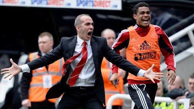 Sunderland coach coach Paolo Di Canio expresses outrageous delight after David Vaughan scored against Newcastle on Sunday (Reuters)