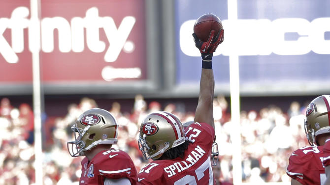 San Francisco 49ers defensive back C.J. Spillman reacts after recovering a fumbled Miami Dolphins punt return during the third quarter of an NFL football game in San Francisco, Sunday, Dec. 9, 2012. The recovery set up a 49ers touchdown by Frank Gore. (AP Photo/Marcio Jose Sanchez)