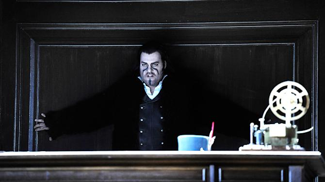 "In this undated photo provided by the Opernhaus, Zurich Bryn Terfel in the role of the Hollaender (Dutchman) performs on stage during a dress rehearsal for Richard Wagner's opera ""Der fliegende Hollaender"" (The Flying Dutchman) at the opera in Zurich, Switzerland. (AP Photo/Opernhaus Zurich/T+T Fotografie/Toni Suter + Tanja Dorendorf)"