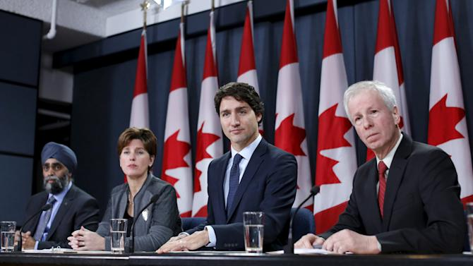 Canada's PM Trudeau takes part in a news conference in Ottawa