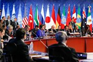 World leaders attend the plenary session of the G20 Summit in Los Cabos, Baja California, Mexico on June 18, 2012. World leaders struggled to inject confidence into the global economy at a G20 summit in Mexico dominated by the spiraling European debt crisis that is spooking markets and paralyzing growth