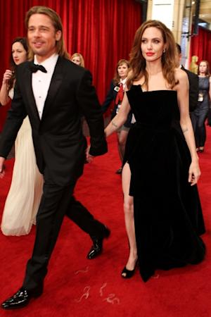 Brad Pitt and Angelina Jolie arrive at the 84th Annual Academy Awards held at the Hollywood & Highland Center, Hollywood, on February 26, 2012 -- Getty Images