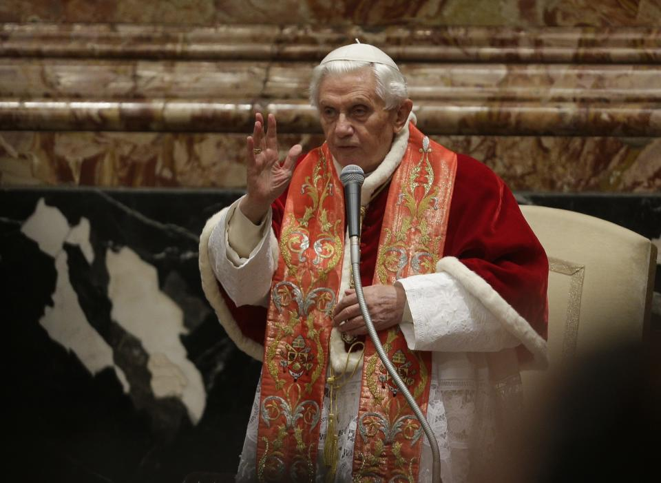 "Pope Benedict XVI delivers his blessing during a ceremony on the occasion of the international congress ""Ecclesia in America"", at the St. Peter Basilica, Vatican, Sunday, Dec. 9 , 2012.  (AP Photo/Alessandra Tarantino)"