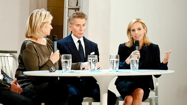 This image released by American Made Awards  shows Martha Stewart, left, during a panel discussion with designers Calvin Klein, center, and Tory Burch at Grand Central Terminal's Vanderbilt Hall as part of Stewart's American Made project in New York on Wednesday, Oct. 17, 2012. (AP Photo/American Made Awards, Gabi Porter)