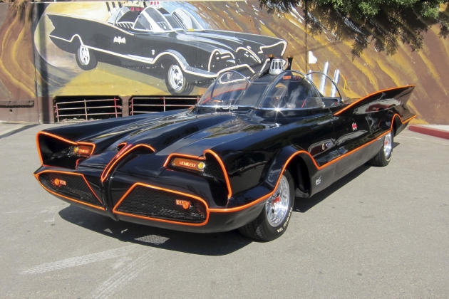This October 2012 file photo provided by Barrett-Jackson/George Barris shows the original Batmobile in Los Angeles. Batman's original ride, from the 1960s TV series, has sold at auction for $4.2 milli
