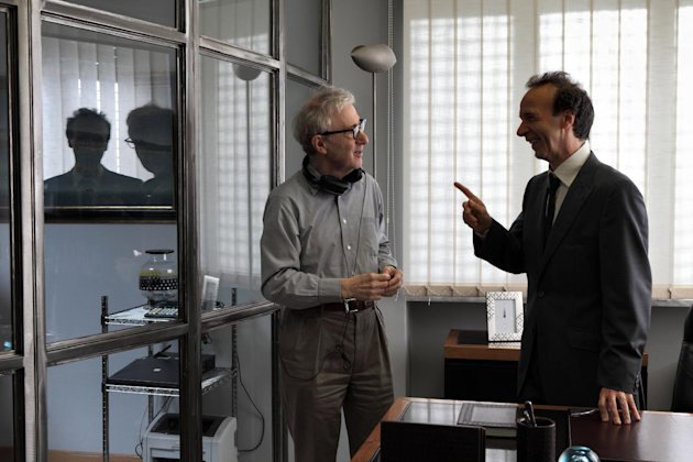 "This film image released by Sony Pictures Classics shows, director Woody Allen, left, and Italian actor Roberto Benigni during the filming of ""To Rome With Love."" (AP Photo/Sony Pictures Classics, Philippe Antonello)"