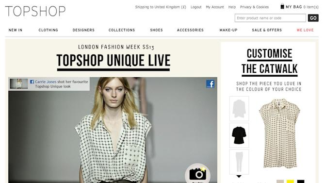 Topshop to Debut Interactive, Shoppable Livestream During London Fashion Week