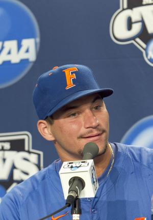 Florida's Mike Zunino speaks during a news conference at TD Ameritrade Park in Omaha, Neb., Sunday, June 26, 2011, ahead of the NCAA College World Series best-of-three baseball finals which are scheduled to start on Monday. (AP Photo/Nati Harnik)
